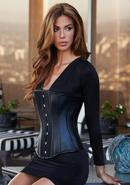 Essential Satin And Leather Corset Blk M